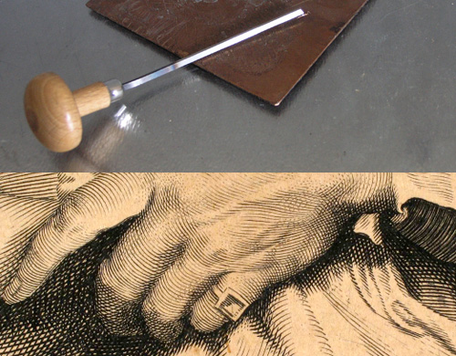 Grafiska Sällskapet - kopparstickel och del av äldre kopparstick