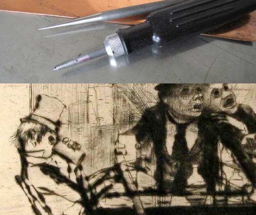 Grafiska Sällskapet - torrnålsverktyg och del av torrnål Axel Fridell