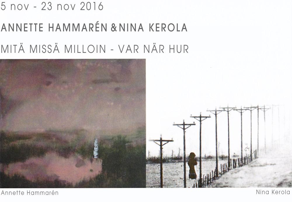 Annette Hammarén och Nina Kerolas utställningsbilder